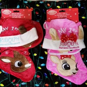 1st Christmas plush hat bib stocking set boy girl